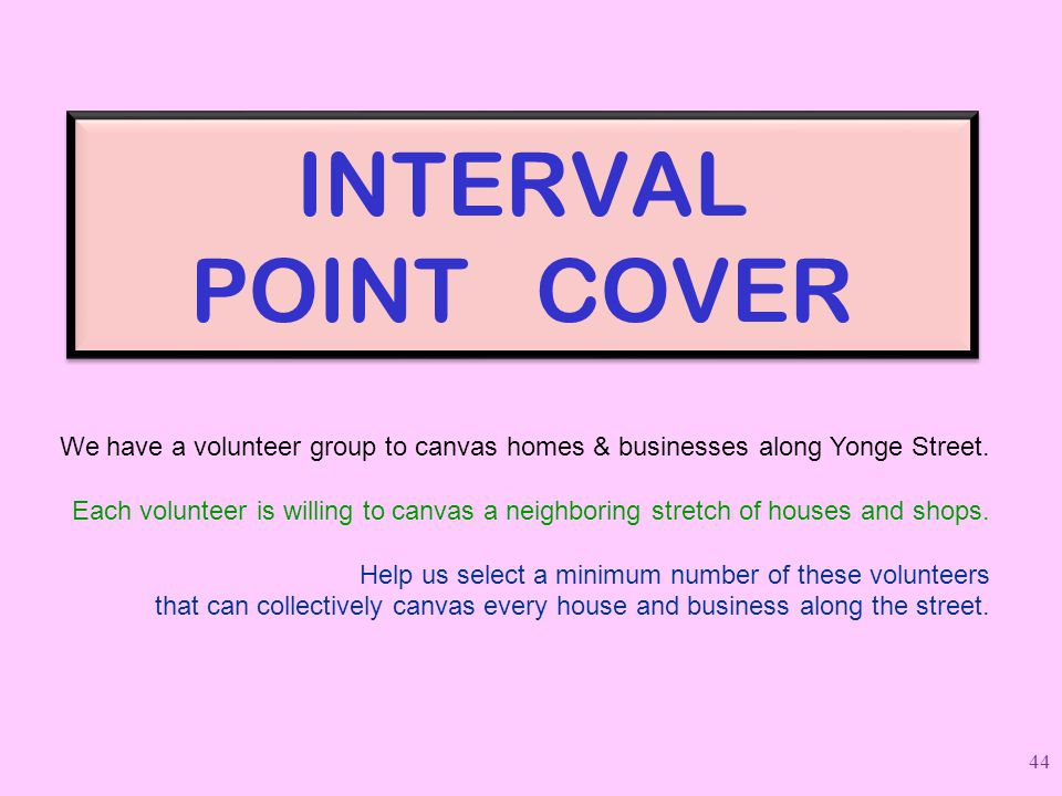 INTERVAL POINT COVER We have a volunteer group to canvas homes & businesses along Yonge Street.