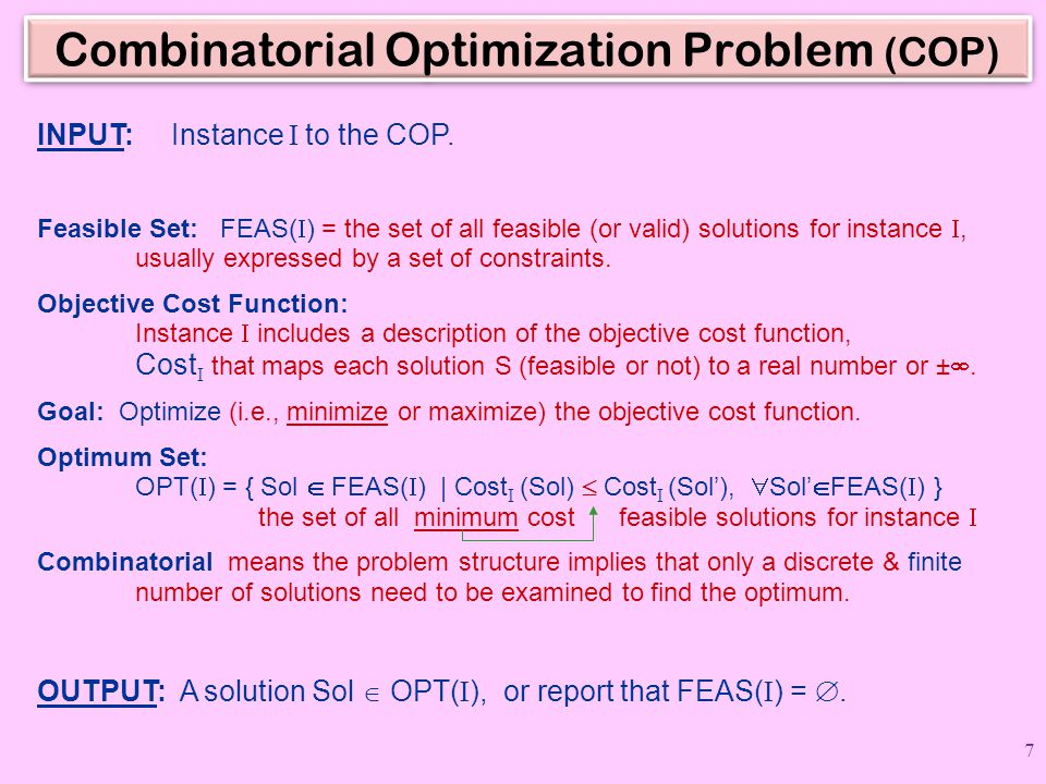 Combinatorial Optimization Problem (COP)