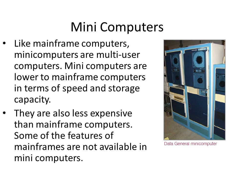Mini Computers Memory Capacity Of Mainframe