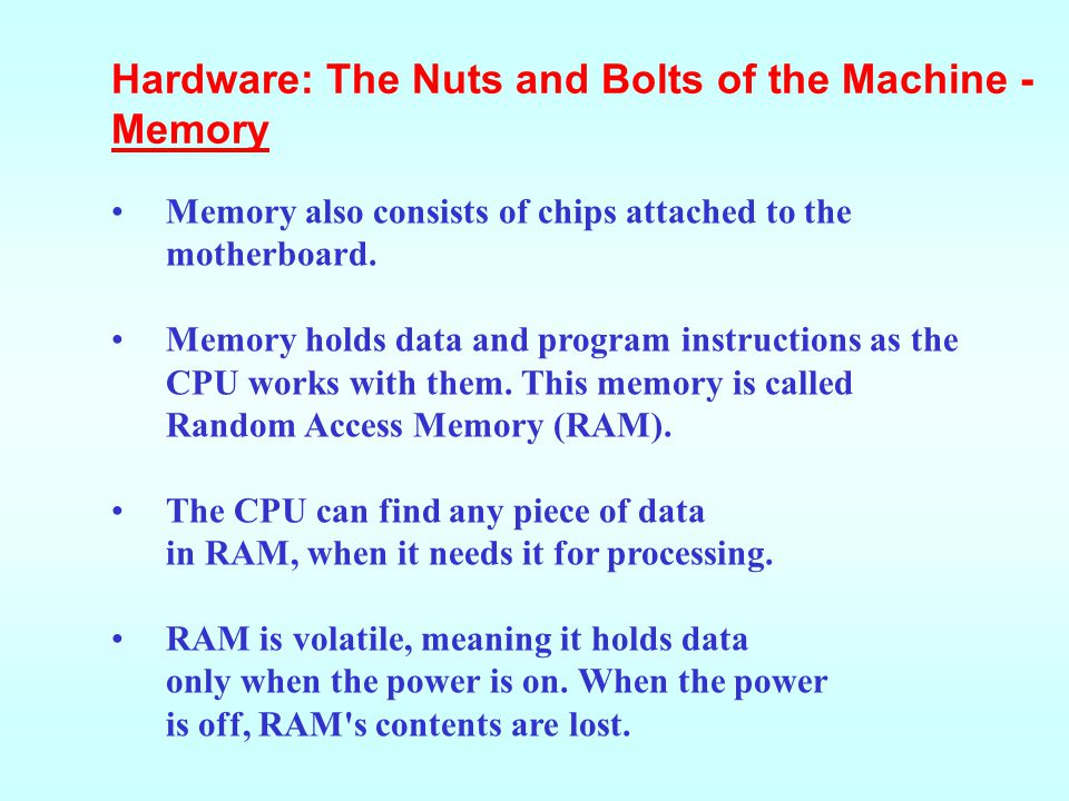 Hardware: The Nuts and Bolts of the Machine - Memory