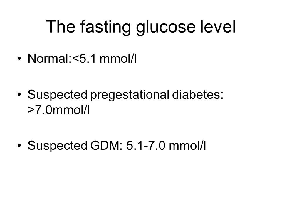 The fasting glucose level