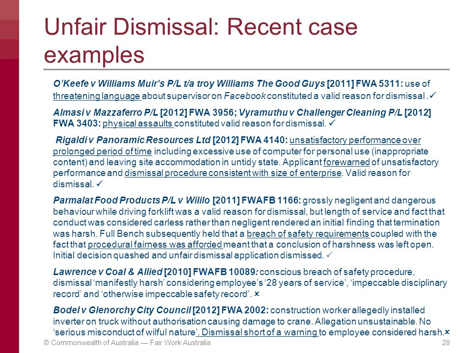 Unfair dismissal an overview.