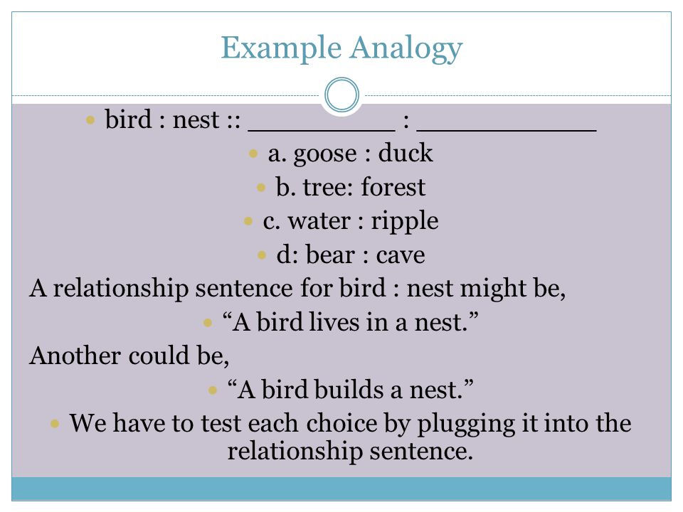 What Is An Analogy An Analogy Is A Statement In Which Two Word