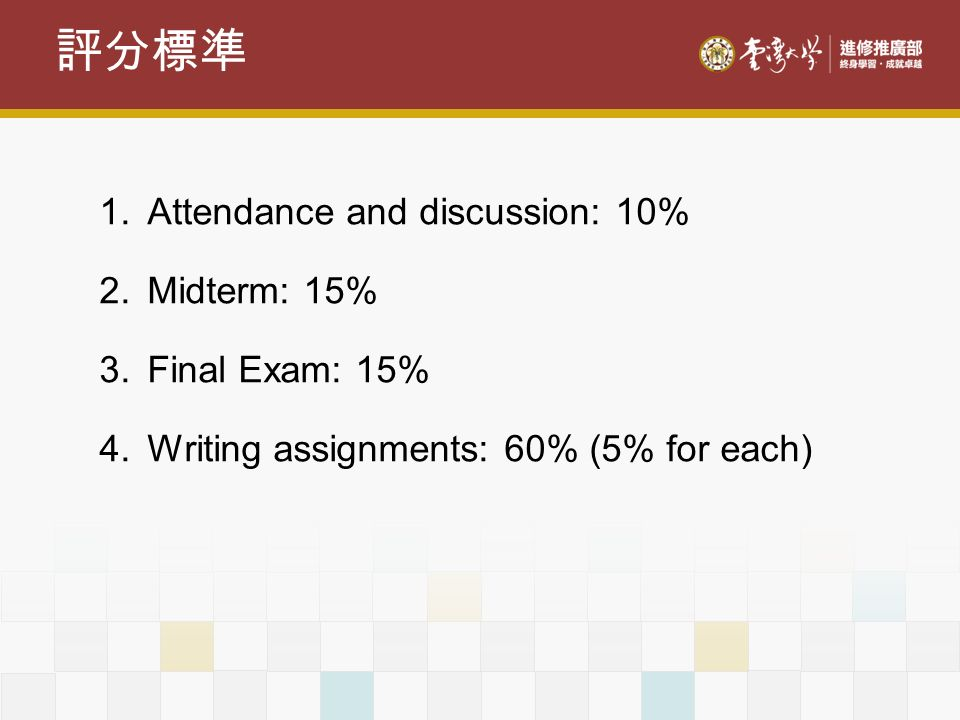 評分標準 Attendance and discussion: 10% Midterm: 15% Final Exam: 15%