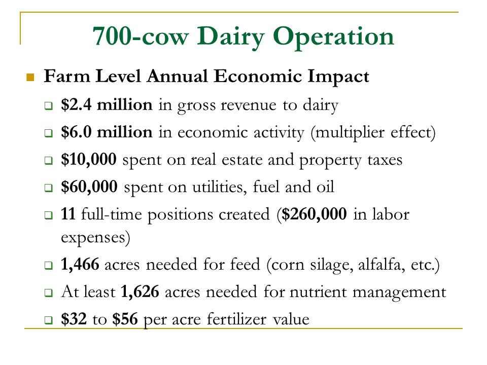 700-cow Dairy Operation Farm Level Annual Economic Impact
