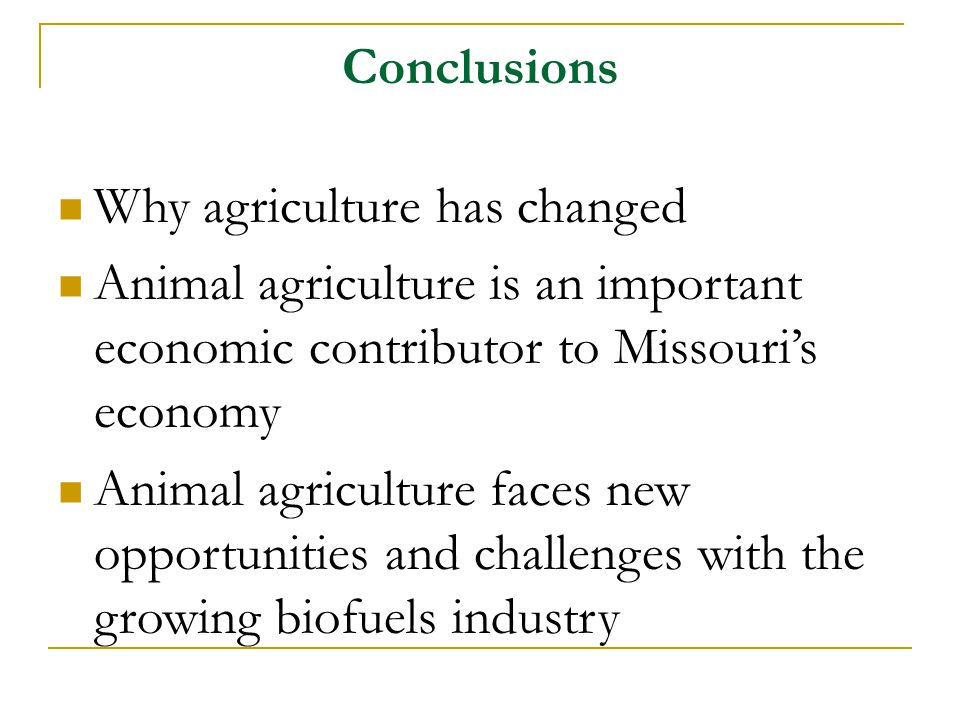 Why agriculture has changed