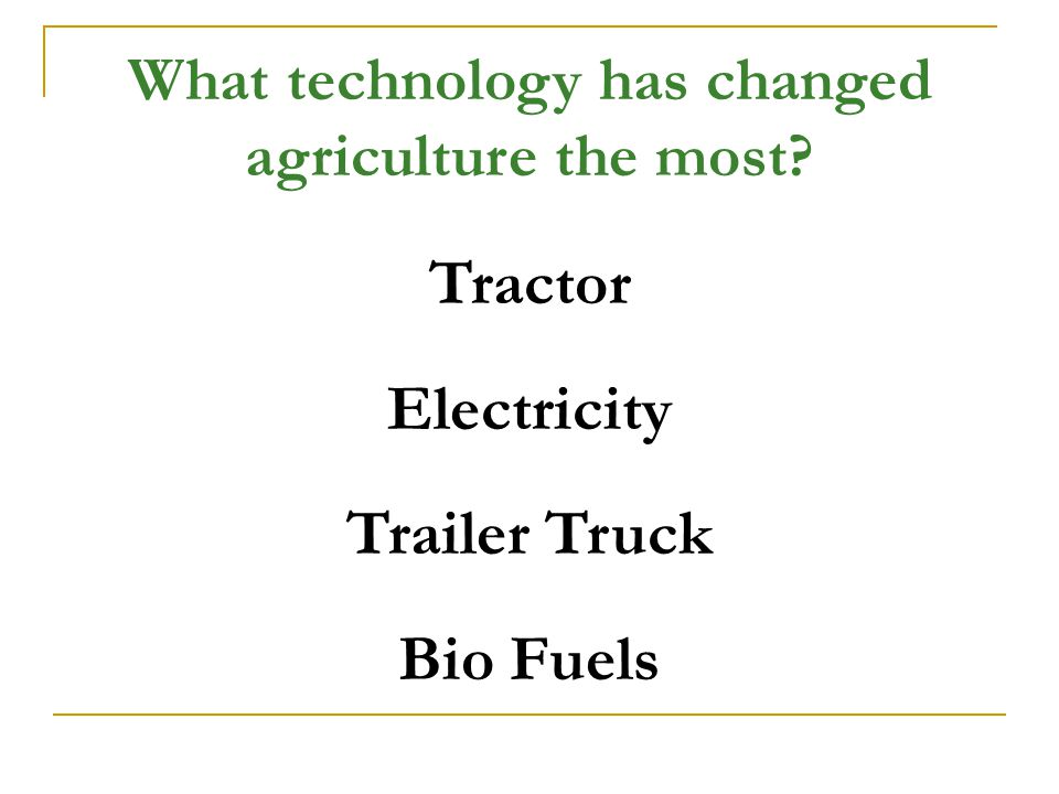 What technology has changed agriculture the most