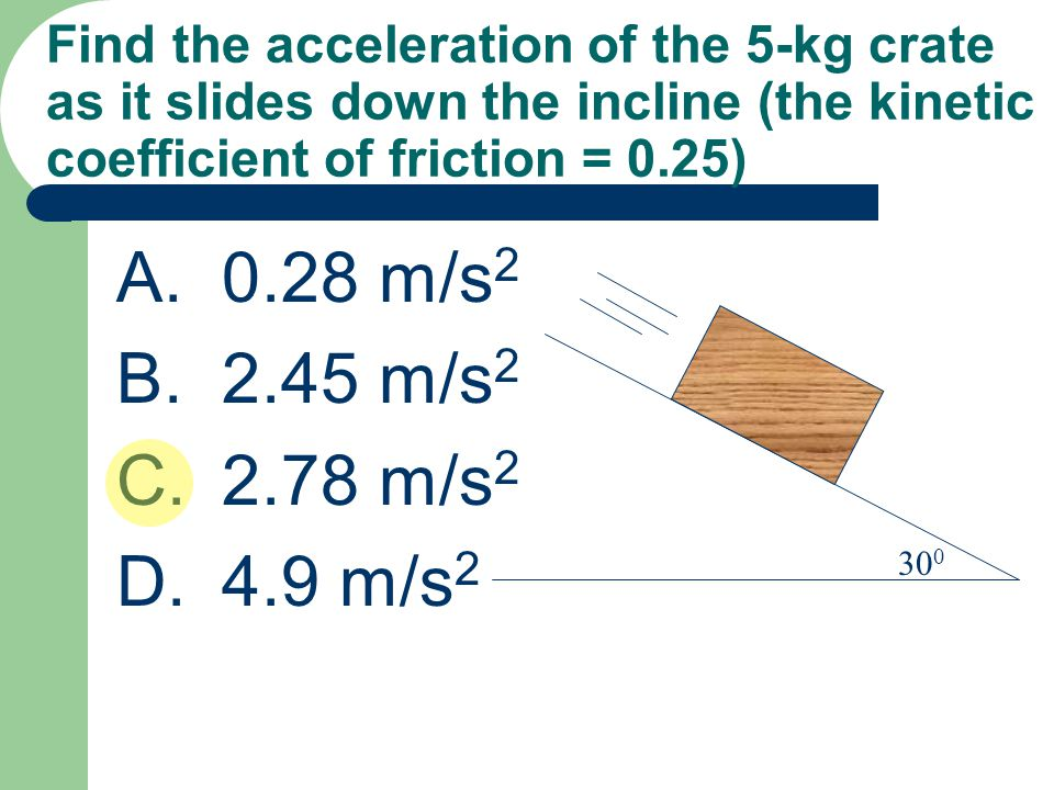 Find the acceleration of the 5-kg crate as it slides down the incline (the kinetic coefficient of friction = 0.25)