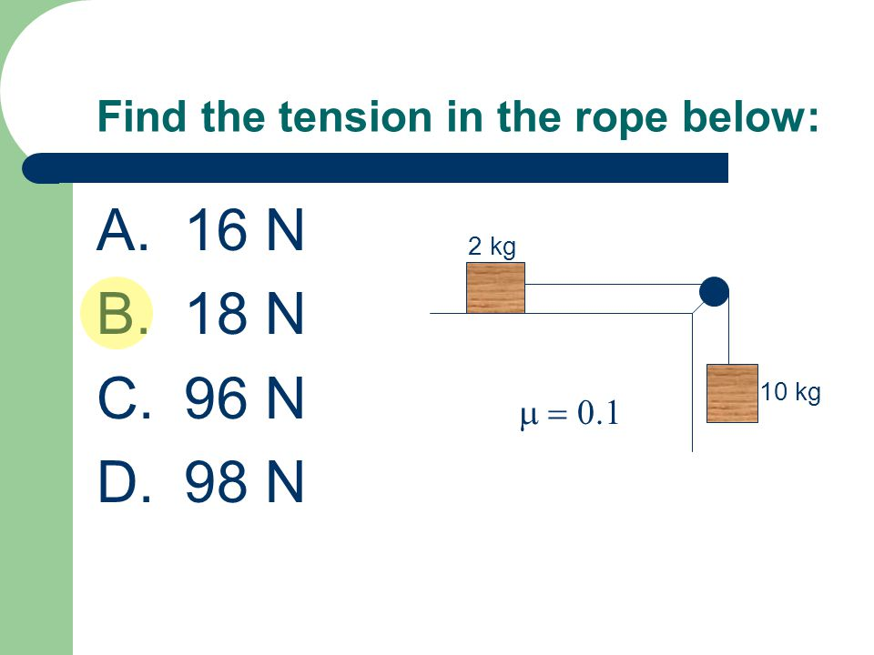 Find the tension in the rope below: