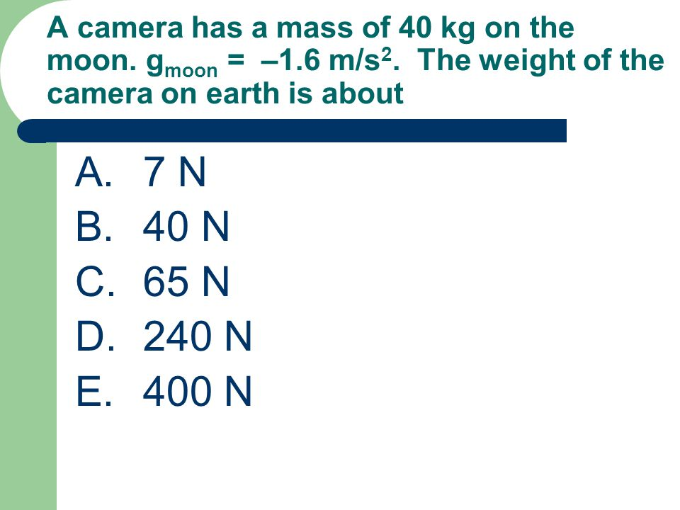 A camera has a mass of 40 kg on the moon. gmoon = –1. 6 m/s2