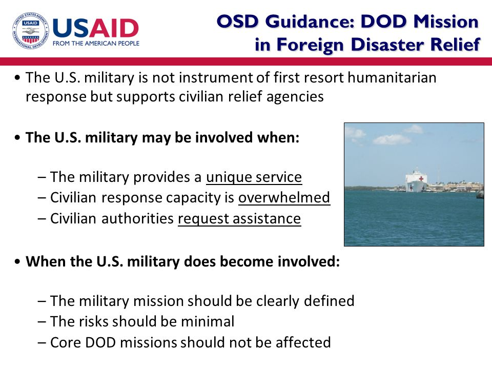 OSD Guidance: DOD Mission in Foreign Disaster Relief