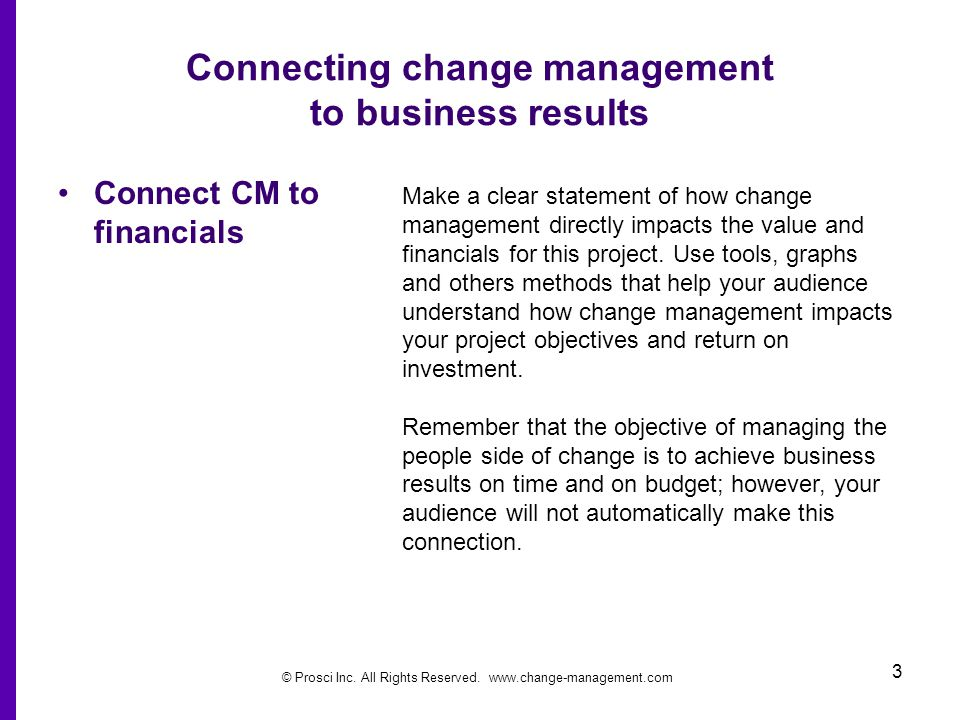 Connecting change management to business results