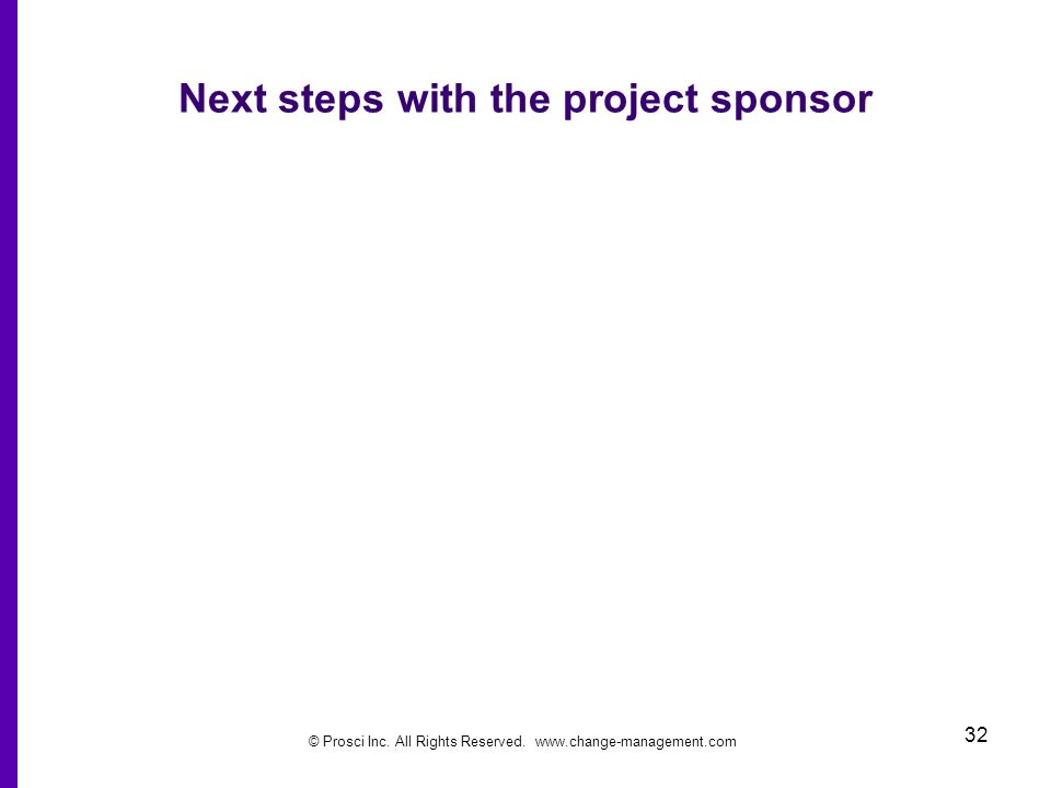 Next steps with the project sponsor