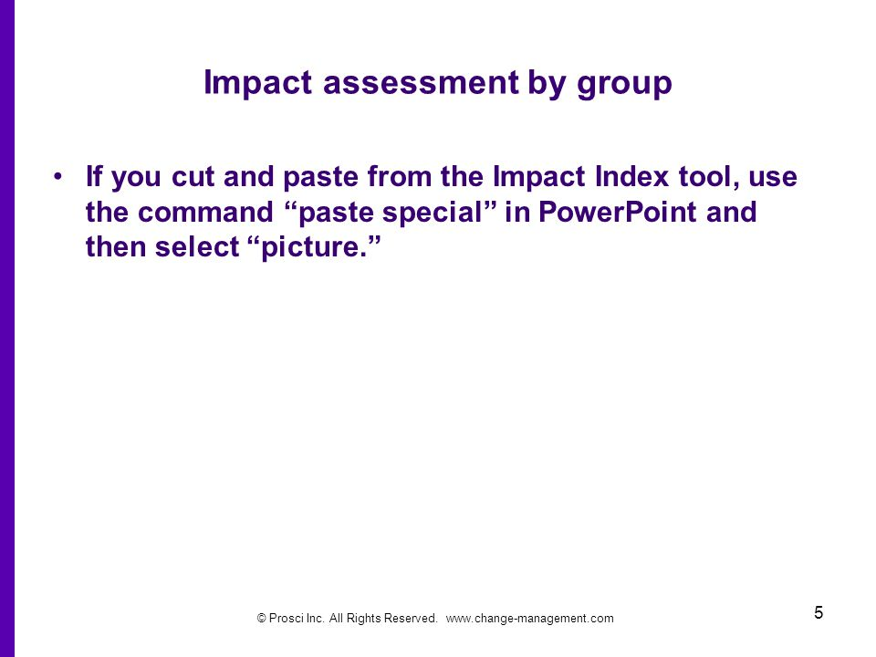 Impact assessment by group