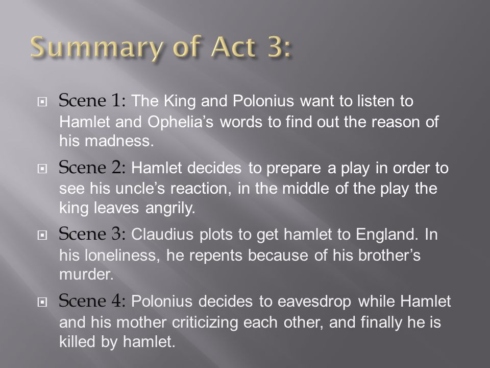 plot summary for hamlet This is a plot summary of shakespeare's hamlet that i created some years ago rather than keep it to myself, i've put it on the web so that students and experts can make use of it contents.