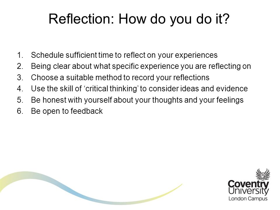 Reflection: How do you do it