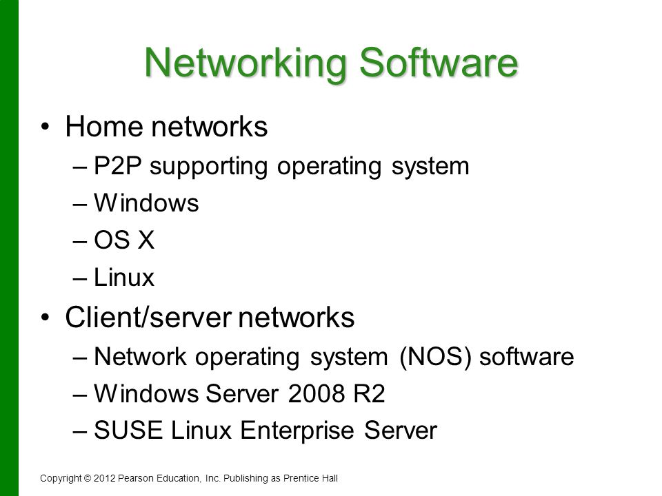 Networking Software Home networks Client/server networks