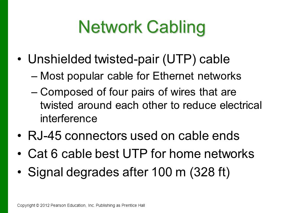 Network Cabling Unshielded twisted-pair (UTP) cable