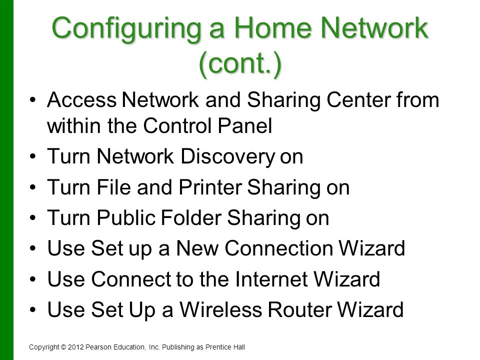 Configuring a Home Network (cont.)