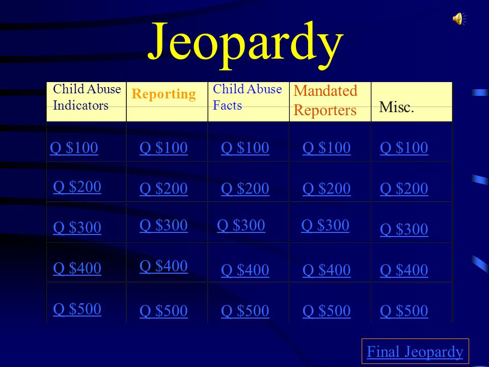 Jeopardy Mandated Reporters Misc Q 100 Q 100 Q 100 Q