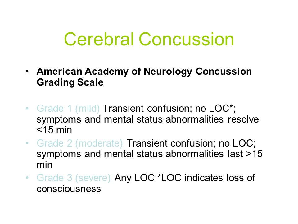 Cerebral Concussion American Academy of Neurology Concussion Grading Scale.