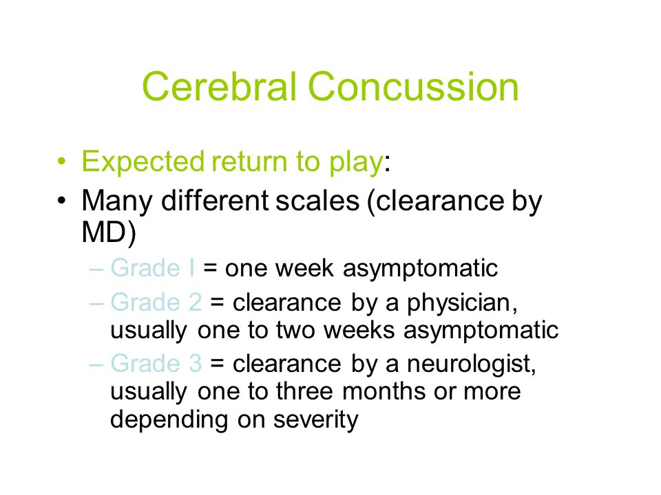 Cerebral Concussion Expected return to play: