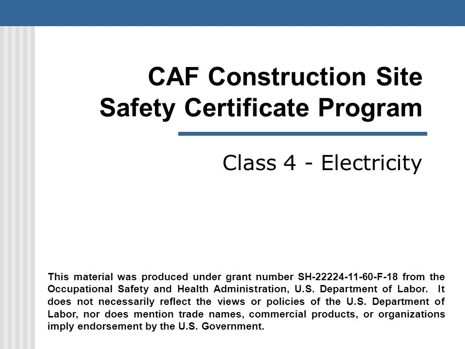 Caf Construction Site Safety Certificate Program Ppt Download