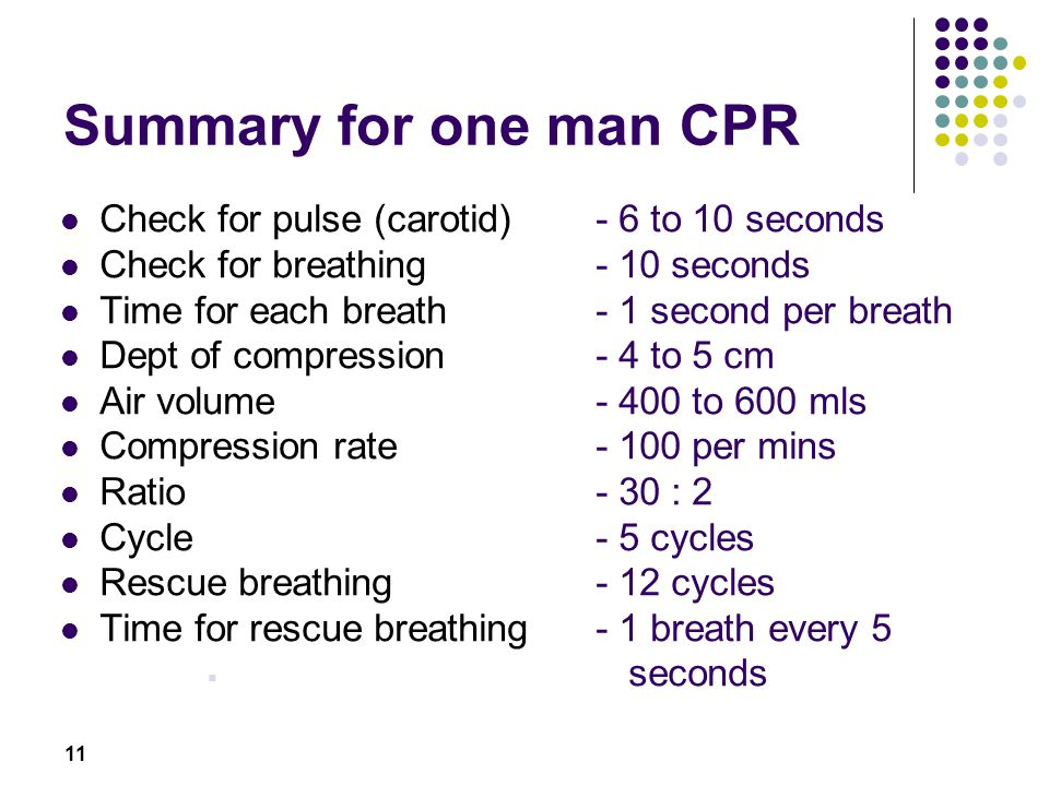 Summary for one man CPR Check for pulse (carotid) - 6 to 10 seconds