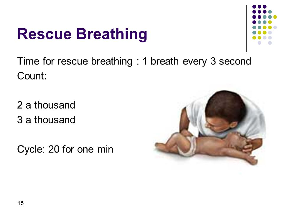 Rescue Breathing Time for rescue breathing : 1 breath every 3 second