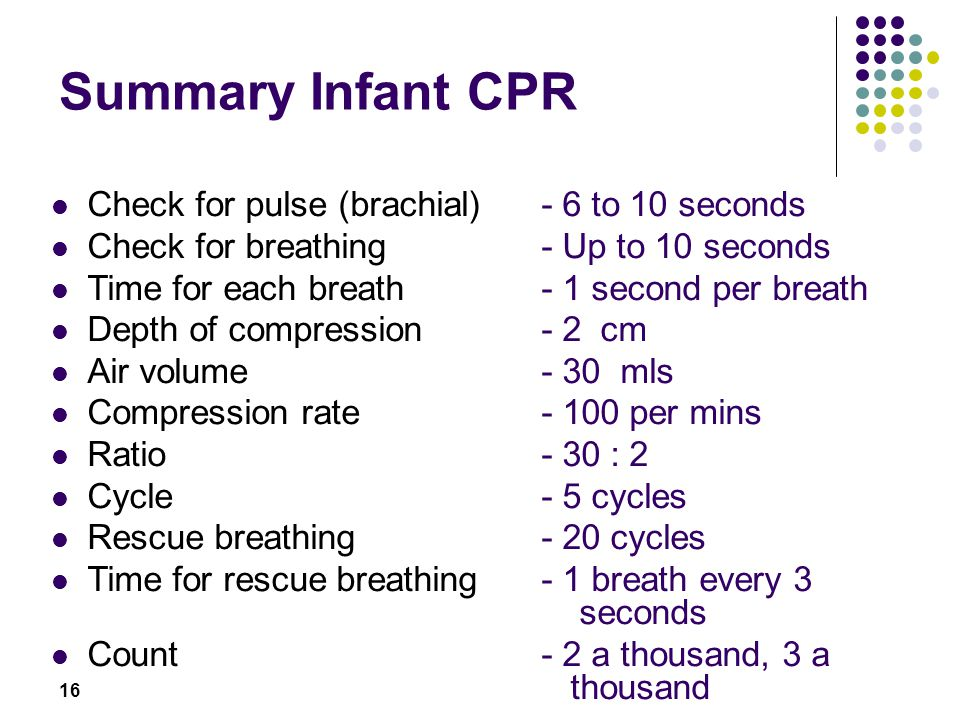 Summary Infant CPR Check for pulse (brachial) - 6 to 10 seconds