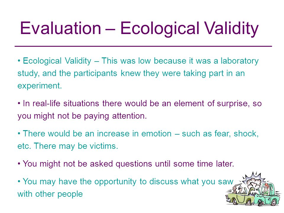Evaluation – Ecological Validity