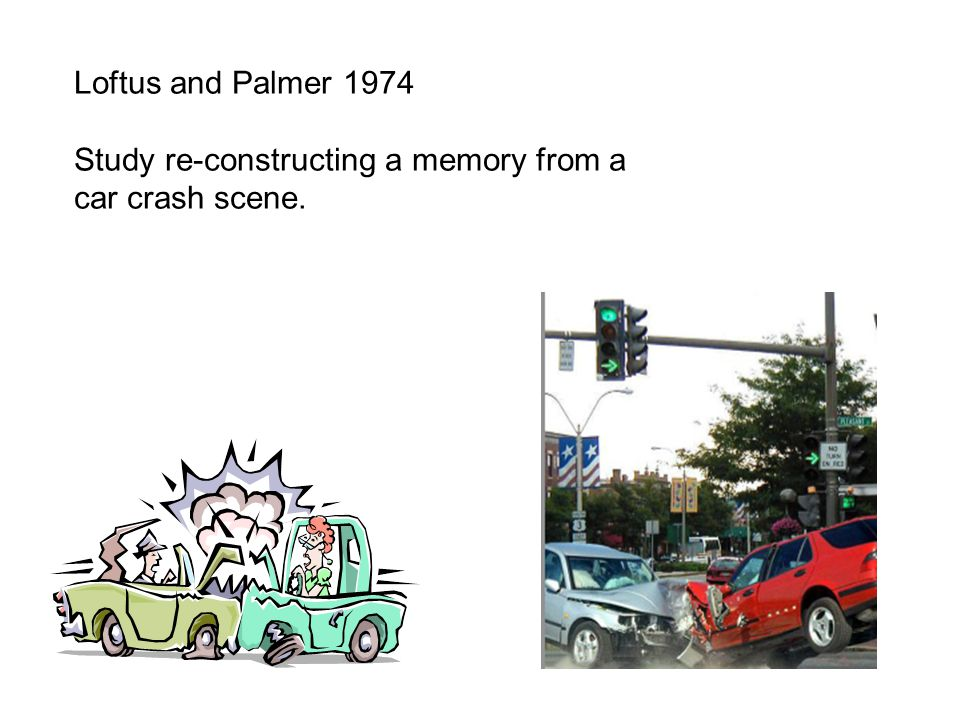 Loftus and Palmer 1974 Study re-constructing a memory from a car crash scene.