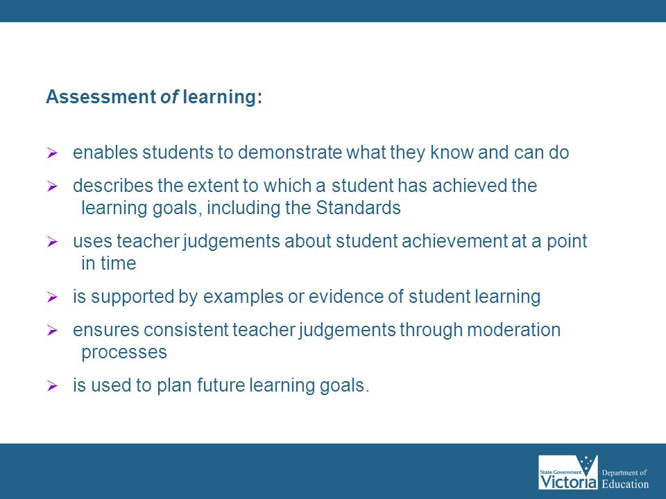 Assessment of learning:
