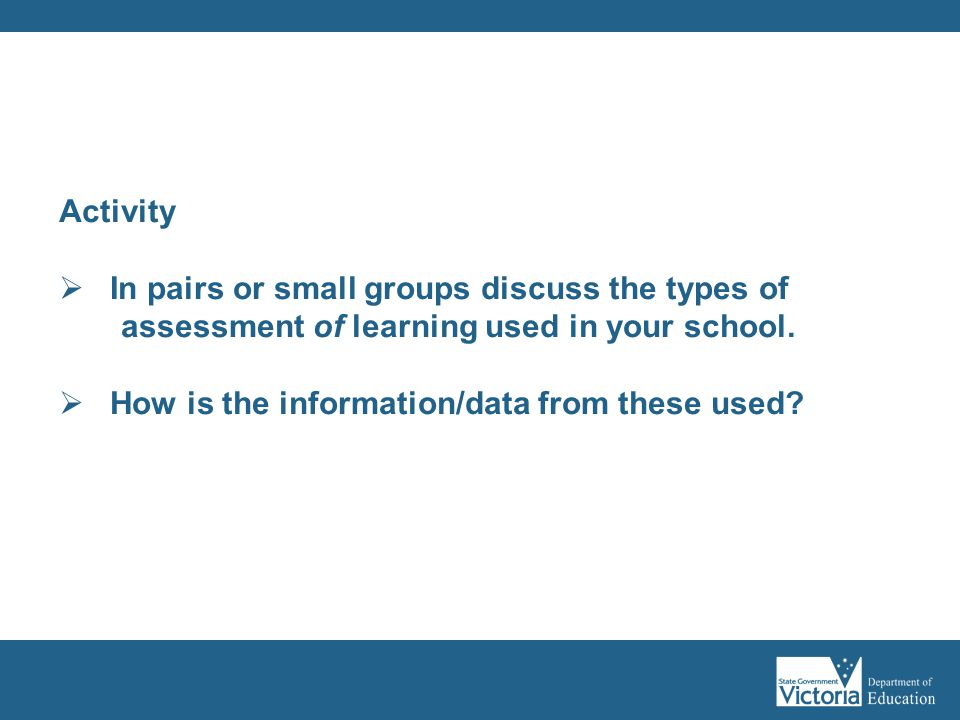 In pairs or small groups discuss the types of