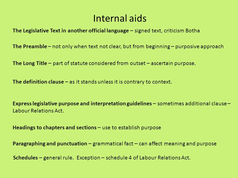 Internal aids The Legislative Text in another official language – signed text, criticism Botha.