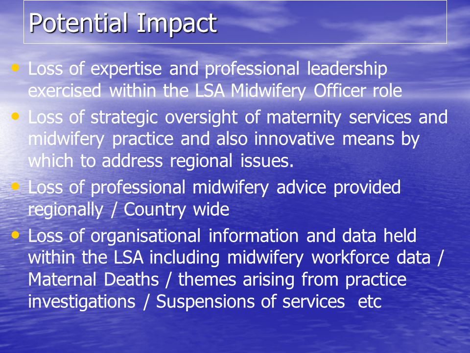 Potential Impact Loss of expertise and professional leadership exercised within the LSA Midwifery Officer role.