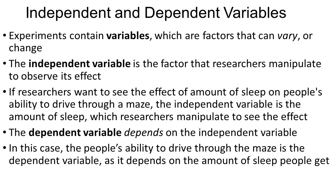 Independent and Dependent Variables
