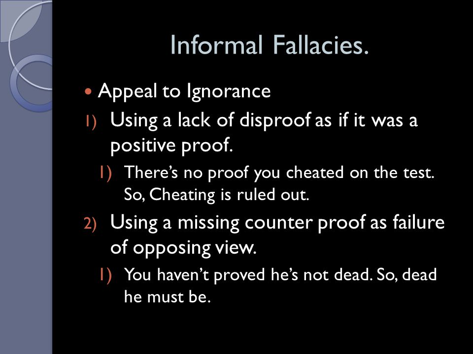 Informal Fallacies. Appeal to Ignorance