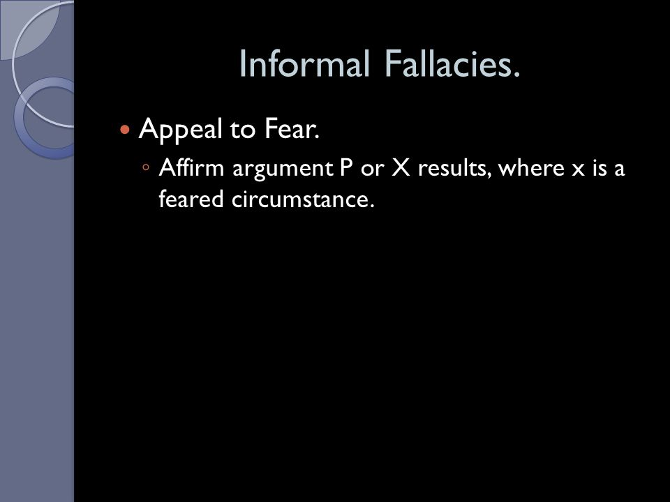 Informal Fallacies. Appeal to Fear.