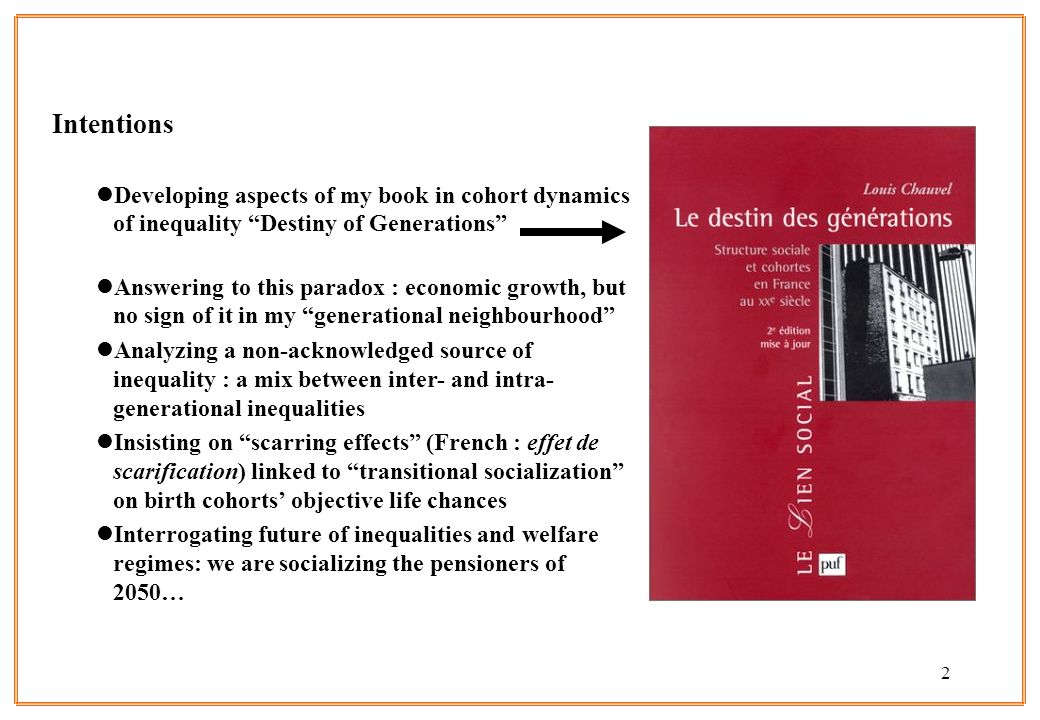 Intentions Developing aspects of my book in cohort dynamics of inequality Destiny of Generations