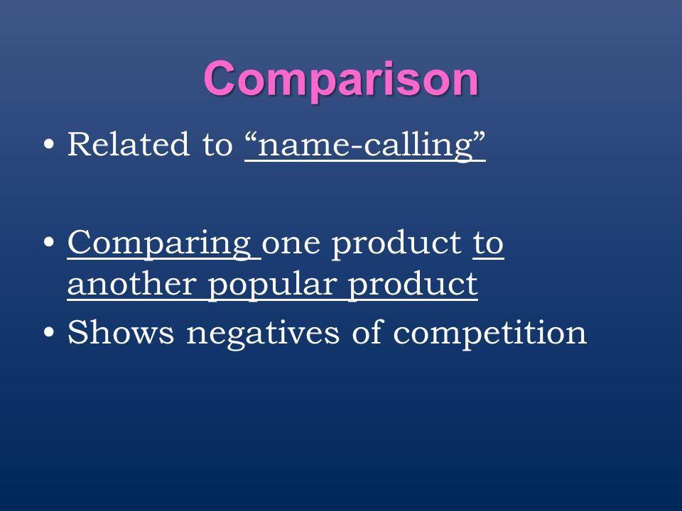 Comparison Related to name-calling