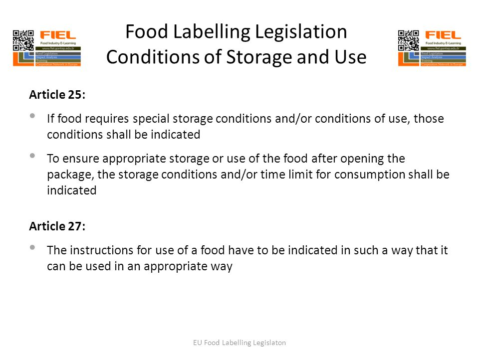37 Food Labelling Legislation Conditions of Storage ...  sc 1 st  SlidePlayer & EU Food Labelling Legislations - ppt download