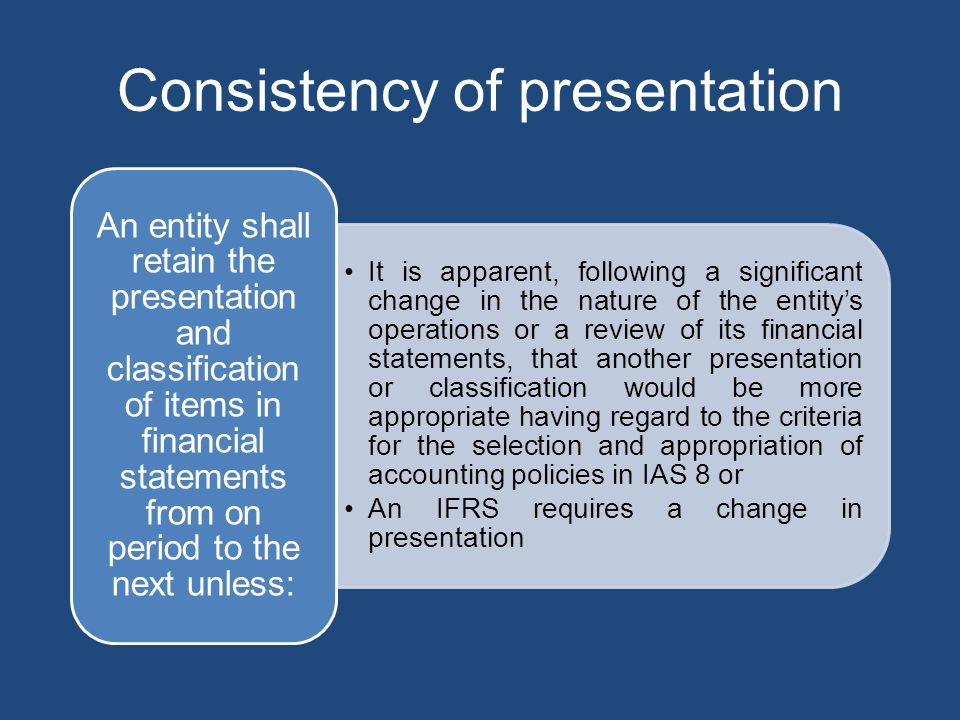 Consistency of presentation