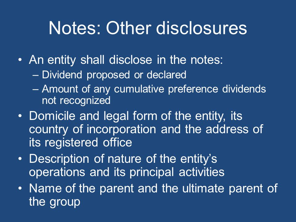Notes: Other disclosures