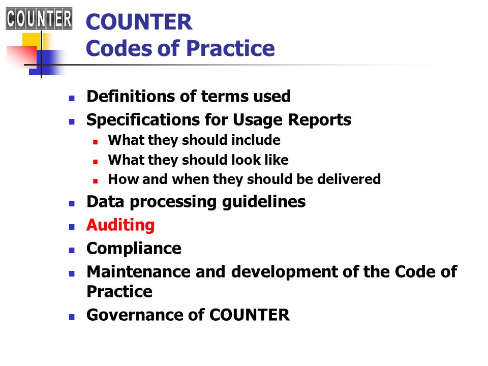 COUNTER Codes of Practice