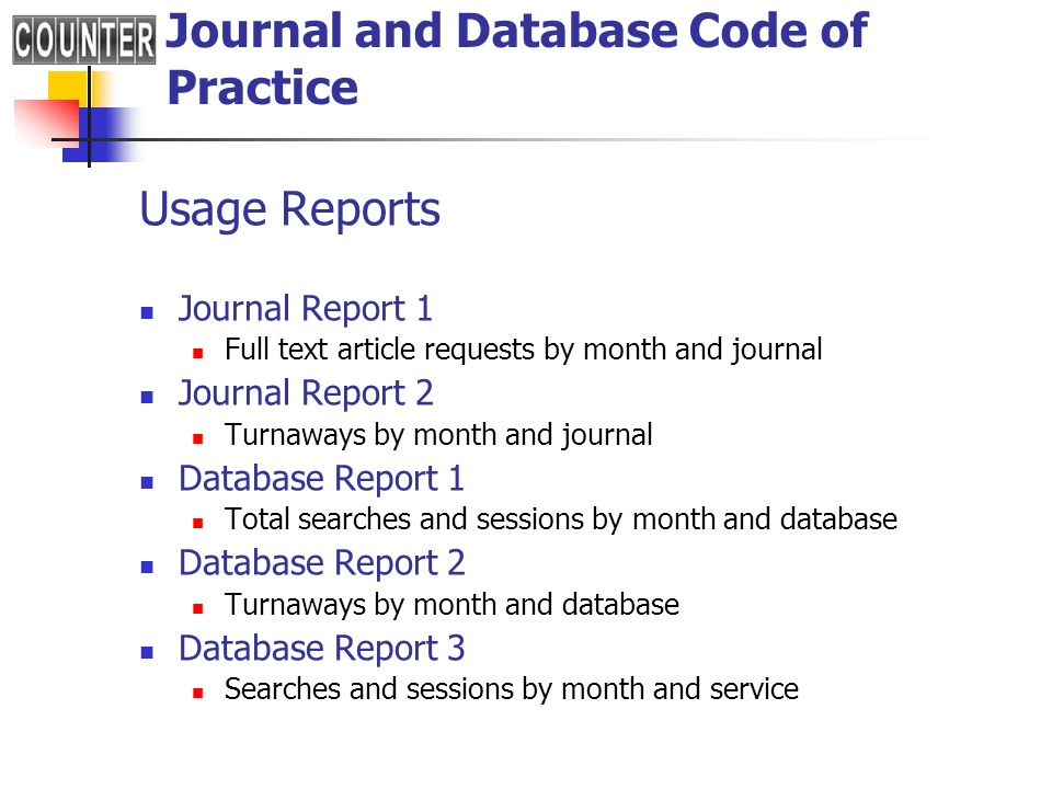 Journal and Database Code of Practice
