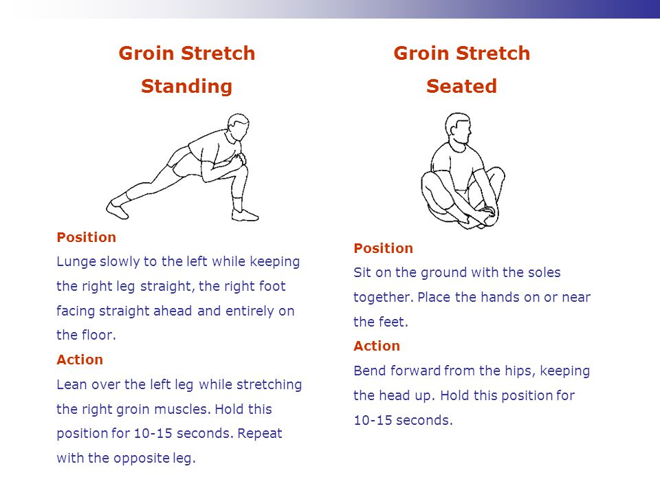 Groin Stretch Standing Groin Stretch Seated