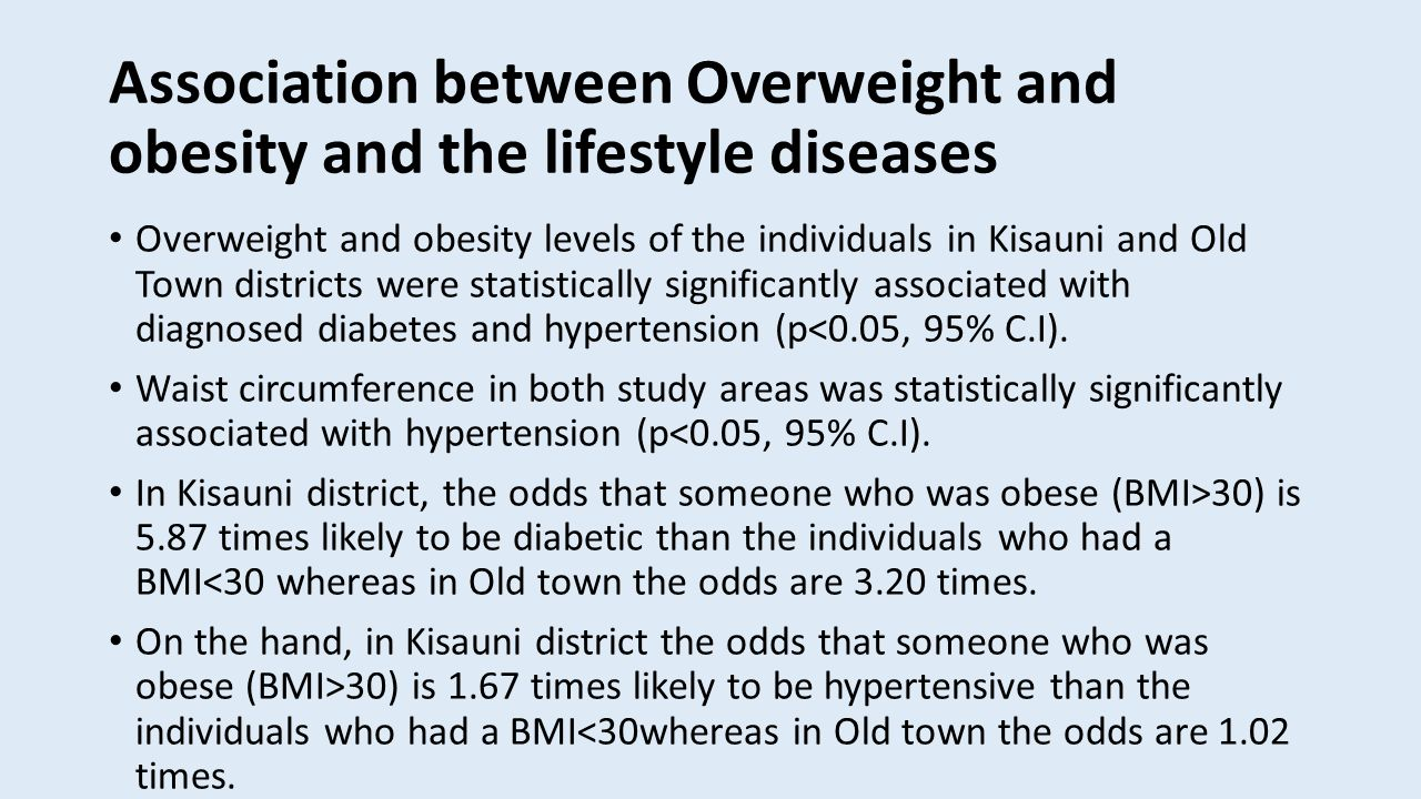 Association between Overweight and obesity and the lifestyle diseases