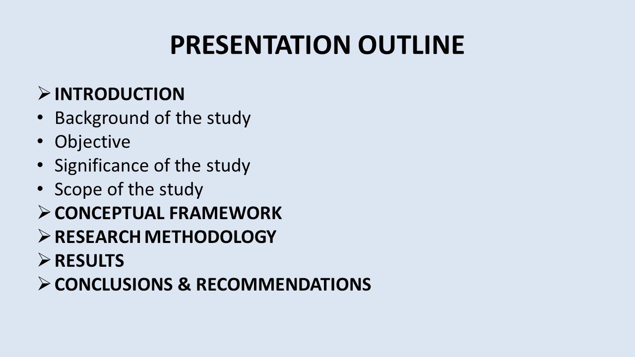 PRESENTATION OUTLINE INTRODUCTION Background of the study Objective
