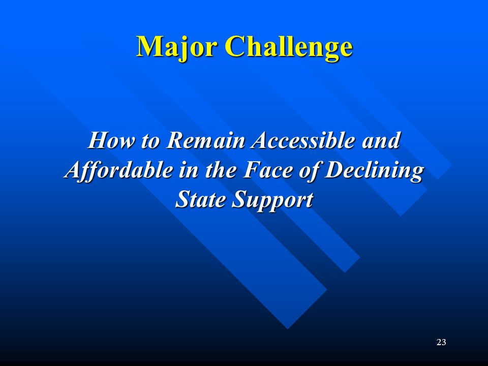 Major Challenge How to Remain Accessible and Affordable in the Face of Declining State Support